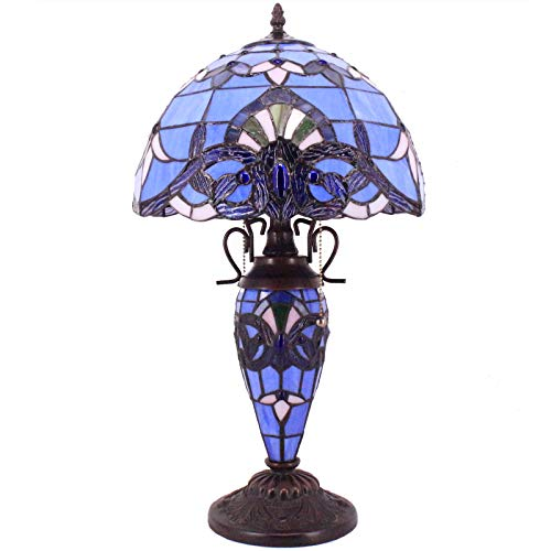 Tiffany Style Lamp W12H22 Inch Lavender Blue Purple Baroque Stained Glass Lampshade Antique Base S003C WERFACTORY Lamps Lover Gifts Living Room Bedroom Office Study Coffee Table Lighting Art Gifts
