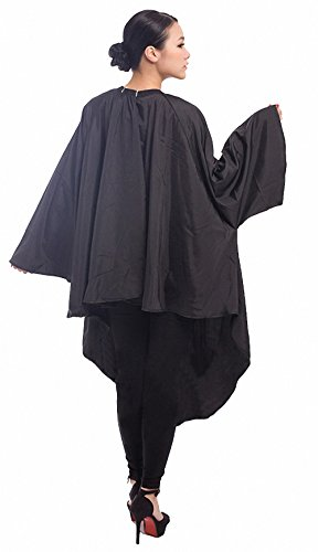 Professional Salon Client Hair Cutting Cape Gown, Barber Haircut Cape with Sleeves - Black