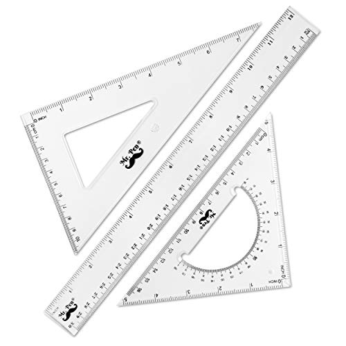 Mr. Pen- Triangle Ruler, Square and Ruler Set, Ruler Set, 3 Pack, Set Square, Geometry Set, Square Ruler, Protractor for Geometry, School Geometry Set, Math Protractor, Geometry Rulers, Math Ruler