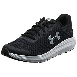 Under Armour mens Surge 2 Running Shoe, Black/White, 10.5 US