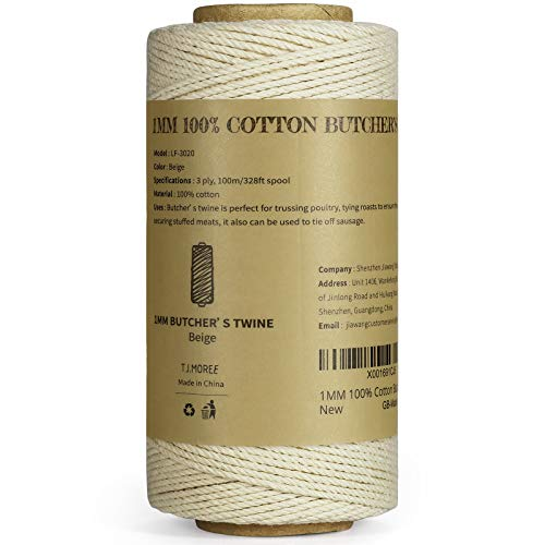 TJ.MOREE Butchers Twine, 3Ply 100m/328 1mmThick Feet Food Safe Cotton Cooking Meat Rope String Bakers Twine Fit to Parcel Sausage and Decorate Crafts (White)