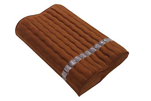 """Ereada Far Infrared Amethyst Mat Pillow - High End Negative Ion and FIR Pillow - Jewelry Grade Natural Amethyst Gems - Memory Foam - Luxury Suede (Standard Pillow 19' L x 12' W x 3.5""""H, Rich Brown)"""