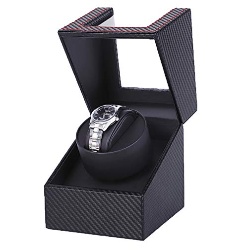 HOSEN Automatic Single Watch Winder in Black Leather with Quiet Japanese Motor, Adjustable Watch...