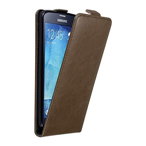 Cadorabo Custodia per Samsung Galaxy S5 / S5 Neo in Bruno caffè - Protezione in Stile Flip con Chiusura Magnetica - Case Cover Wallet Book Etui