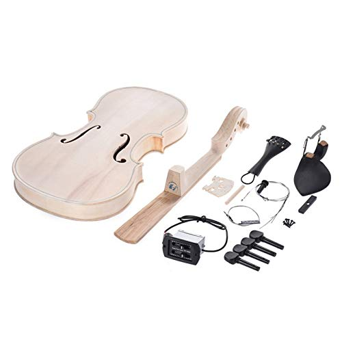 H/A 4/4 Full Size Violin DIY Kit Natural Solid Wood Acoustic Violin Fiddle Kit with EQ Spruce Top Maple Fingerboard Tom-V (Color : with EQ)