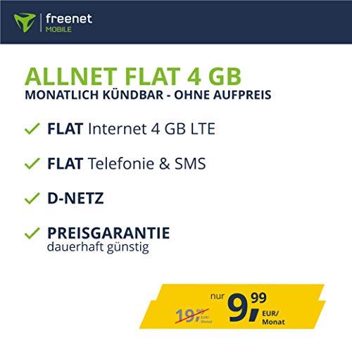 freenetMobile Handyvertrag Allnet Flat 4 GB - Internet Flat, Allnet Flat Telefonie & SMS in alle Deutschen Netze, EU-Roaming, monatlich kündbar