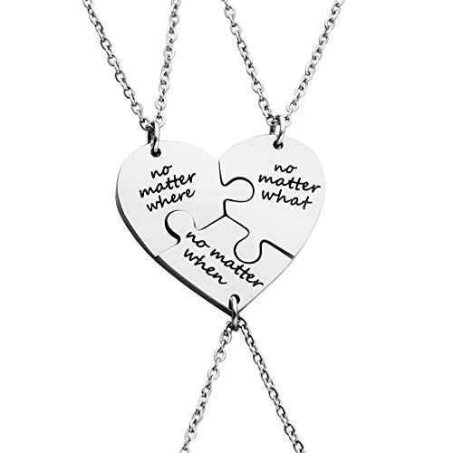 Ankiyabe 3 Best Friends Heart Puzzle Piece Pendant Necklace Set of 3 Long Distance Friendship Necklace 3 Sisters Gift Necklace (No Matter Where & No Matter What & No Matter When)