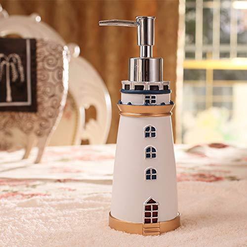PatTheBot Dispensador De Jabón,Diseño Original Vintage Rural Oriental Retro Campo Rellenables Rápida Extrusión Eco Resina Botella De Cocina Baño Hotel Ducha Faro