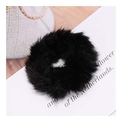 Mode Fluffy Faux Fourrure Chouchou Anneau De Cheveux Élastique Anneau De Corde Cravate Ronde Filles Scrunchie Noir Blanc Moelleux (Color : Black)