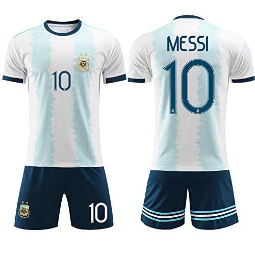 XCR 2019 Niños Niñas Adultos Hombres Mujeres Jersey Fútbol Football Shorts Top Vest Pantalones y Camiseta Traje Kit Set 2-14 años Argentina Messi Verano (Niños Messi 28)