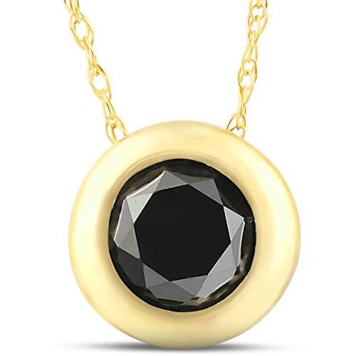 1 1/10ct Black Diamond Bezel Solitaire Pendant 14K Yellow Gold (0.1 Ct Diamond Bezel)