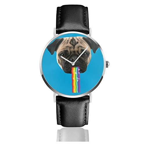Unisex Business Casual Mops Puking Rainbow Snapchat Filter Uhren Quarz Leder Uhr mit schwarzem Lederband für Männer Frauen Junge Kollektion Geschenk
