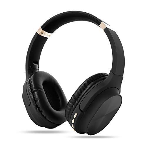 RYRA Auriculares inalámbricos Bluetooth 5.0, GS-H8 plegables con micrófono, Hi-Fi Stereo Soft Memory Protein Earpuffs para el hogar, oficina en línea, soporte para tarjeta TF negro