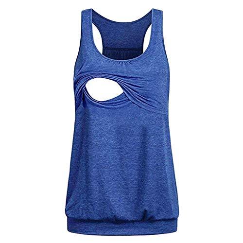 LEKODE Women Maternity Comfy Pull-up Nursing Tank Tops Vest Casual Shirt(Blue,M)
