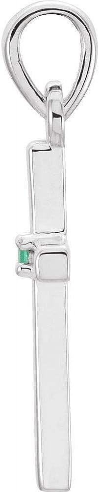 19.2x9mm Emerald Cross Crucifix Charm Pendant (19mm x 9mm)