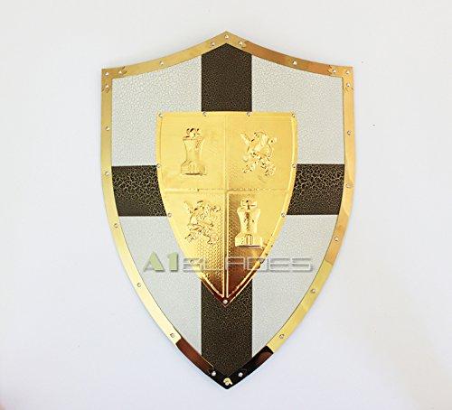 "Swordmaster - 25"" MEDIEVAL KNIGHT SHIELD Brass and Steel All Metal Cross Brand New"
