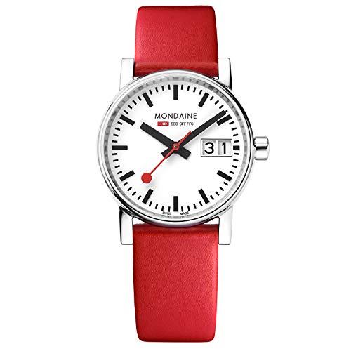 Mondaine Evo2 - Rote Lederuhr für Damen, MSE.30210.LC, 30 MM
