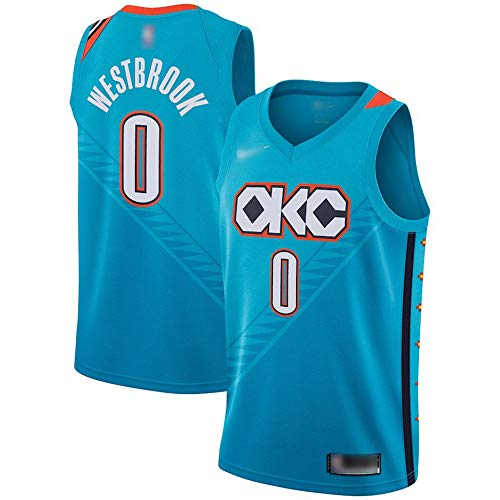 ATI-HSKJ Russell Westbrook Basketball-Trikots Blau # 0 Männer Basketball Fans Ärmel Westen Retro Schnell trocknend Sweatshirt Jersey BH155,2XL:185cm~190cm