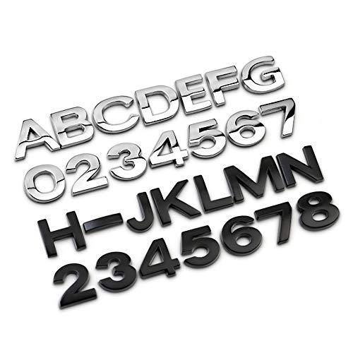JXUS 3D Metall Auto Aufkleber Alphabet Splitterabzeichen Chrom Buchstaben Number Logo Emblem Automobile DIY Zubehör Außendekoration (Color Name : Silver, Size : HIgh1.7CM)