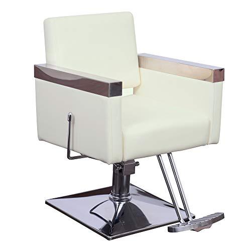 BarberPub Classic Recline Hydraulic Barber Chair Salon Spa Chair Hair Styling Beauty Equipment 3021 (Off White)