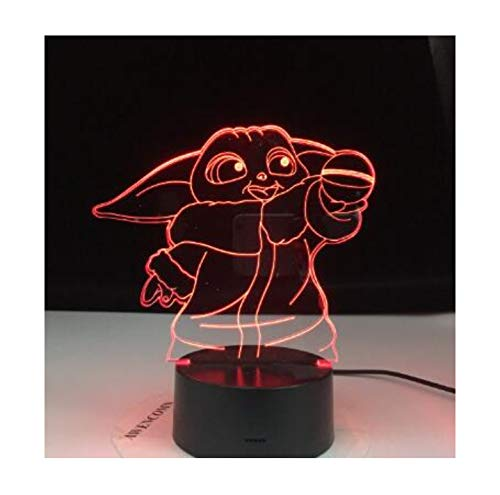 Mini Yoda 3D Led Night Light Baby Yoda Meme Figura Nightlight para niños Dormitorio infantil Decoración Lámpara de mesa Baby Night Light Dropship 7 colores sin control remoto