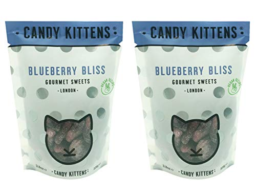 Candy Kittens Gourmet Sweets Gluten Free Gummy Candy Pack 3.8oz, 2 Pack (Blueberry Bliss)