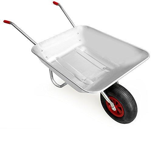 Gardebruk Carretilla 80L de acero galvanizado con rueda para jardinería y obras...