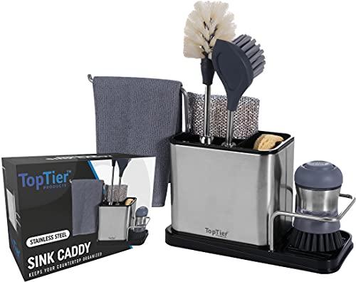 Top Tier Stainless Steel Sink Caddy, Kitchen Sink Organizer, Sponge Brush and Soap Holder, Drains Water