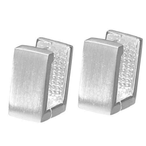 Vinani Klapp-Creolen rechteckig mattiert Sterling Silber 925 Ohrringe CRA