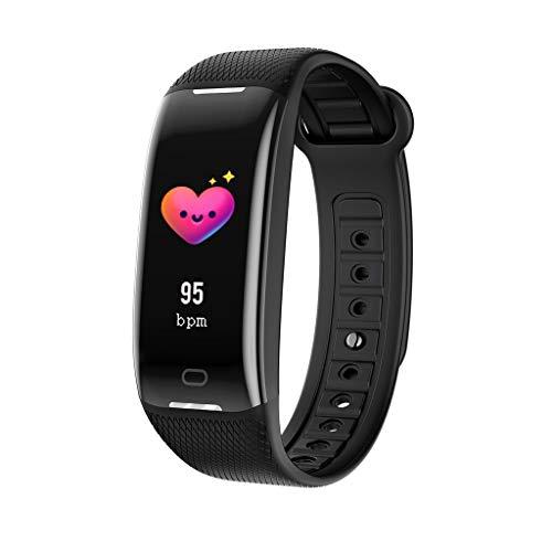 Lisanl Fitness Tracker, IP68 Wasserdicht mit Herzfrequenz-Monitor, Bluetooth 4.0 Wasserdicht Smart Fitness Armband Silikon Armband mit Schrittzähler Schrittzähler Schlafüberwachung Schwarz
