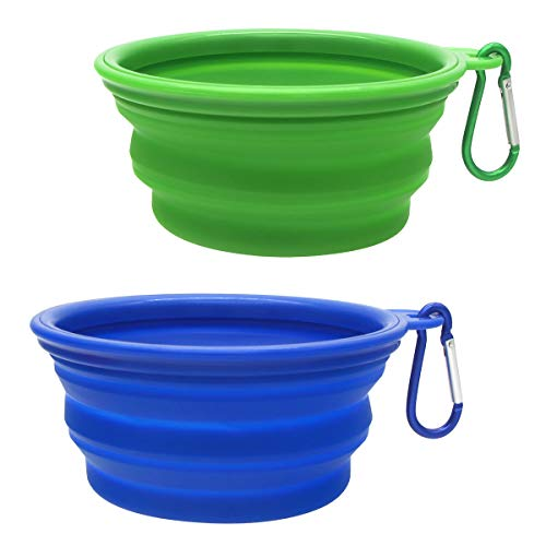 SLSON Collapsible Dog Bowl, 2 Pack Collapsible Dog Food and Water Bowls Foldable Portable Pet...