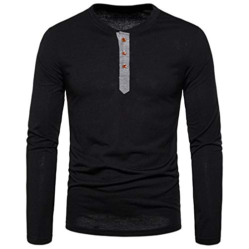 Men'S T-Shirt Long-Sleeve Round Neck/Stand-Up Collar Sweatshirt Thin and Light Breathable Comfortable and Gentle T-Shirt Regular Fit, Casual Fashion Sweatshirt Black S