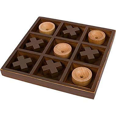 Trademark Innovations 10  Wooden Tic Tac Toe Desk Top Table Décor Game