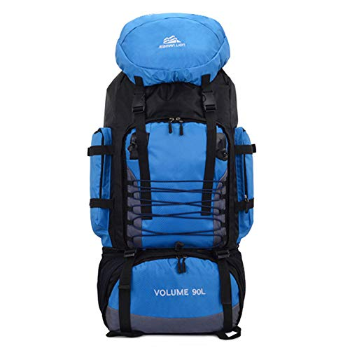 Ajing Wanderrucksack, 90L Wasserdichter Reiserucksack Trekkingrucksack Bergsteigen Rucksack mit Regenschutz für Herren Damen Outdoor Sport Blau