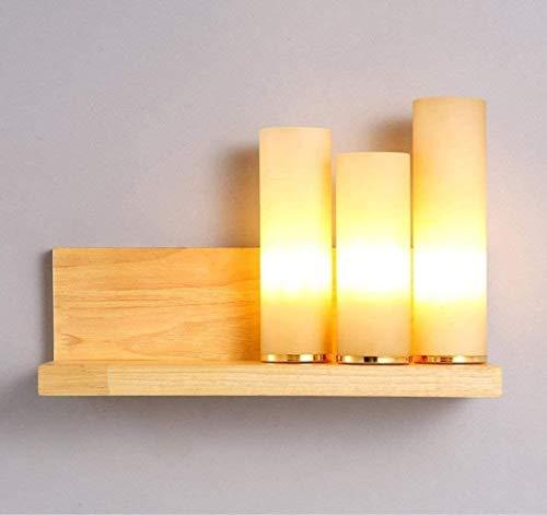 YONGYONGCHONG lámpara de Pared Pared de Cristal Light Aplique-luz de la lámpara de Madera Cuerpo de Pantalla lámpara de Pared de iluminación y decoración Iluminación de Interior iluminación
