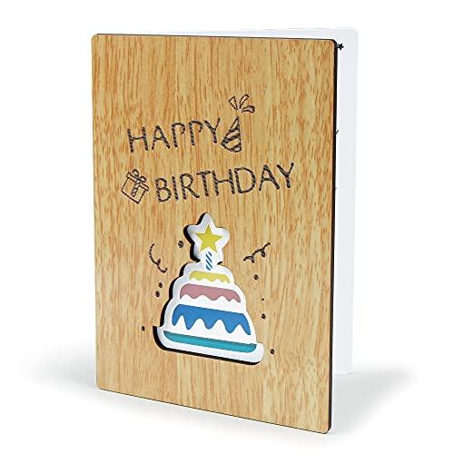 Bluelves Tarjeta Felicitacion, Tarjeta de Felicitación de Madera, Tarjetas Felicitacion Hecha a Mano con sobre, Tarjeta de Cumpleaños Regalo para Padres, Hombre, Mujer, Amigos