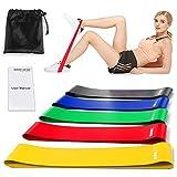 Victoper Fitness [Set di 5] Banda Elastica, Bande, 5 Livelli di Resistenza per Yoga, Pilates, Physiotherapy, Una Custodia per Il Trasporto Inclusa, Manuale cartaceo