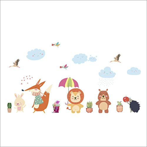 Dieren Bear Uwl Fox Vogel paraplu boom muurstickers voor kinderen cameren Home Decor Cartoon dieren stickers Art DIY knutselen