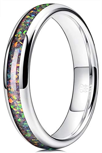 THREE KEYS JEWELRY Womens Charming Jewelry Tungsten with Purple Opal Galaxy Collection Inlay Polished 4mm Wedding Carbide Ring Band for Women Engagement Silver Size 11.5