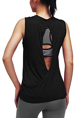 Mippo Womens Cute Workout Tank Tops Open Back Yoga Shirts Yoga Muscle Tank Sleeveless Fitness Sports Racerback Tank Top Gym Exercise Tops Workout Clothes Black M