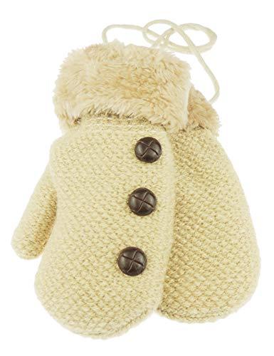 Glamour Girlz Moufles d'hiver pour bébé garçon avec doublure en polaire chaude et bordure boutonnée 6-15 mois (Beige)