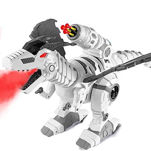 Dinosauro telecomandato per bambini Giocattoli elettronici di dinosauro RC programmabili interattivi con luci e suoni Regalo giocattolo robotico Dino per bambini Rotazione acrobazie e lanciamissili