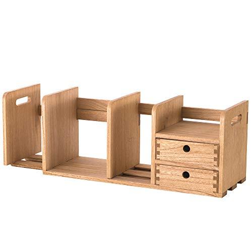 KIRIGENデスク上置棚スライド式 木製書棚 ストレージ本棚 卓上収納ケース組立不要 デスク収納ボックス 引出付き ナチュラル