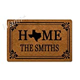Warm+ Personalized Doormat Home State Door Mat with Rubber Backing Home Decor Indoor Outdoor Mats for Entry Front Floor Mats 23.6 x 15.7 Inches - Texas