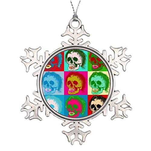 Dkisee Gepersonaliseerde kerstboom decoratie Pop Art is dood! Grappige Kerstmis Sneeuwvlok Ornament 3 inches Aluminium Metalen Kerstmis Ornament Keepsake