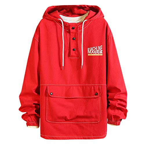 KPILP Herren Hoodie Kapuzen Jacke Workerhoodie Pullover Hooded Sweatshirt Kapuzenpullover mit Knopf und Tasche Große Größen Casual Langarm Pulli Outwear Streetwear