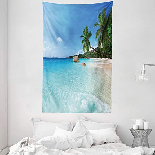 ABAKUHAUS Ozean Wandteppich, ANSE Lazio Beach auf Praslin Island Surfing Beach Scenic View Travel, aus Weiches Mikrofaser Stoff Wand Dekoration Für Schlafzimmer, 140 x 230 cm, Türkis Blau Grün