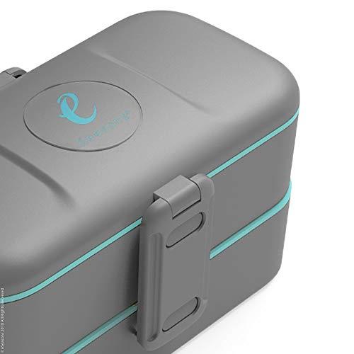 eSeasons Bento Lunchbox 2 Level 4 auslaufsichere Fächer dunkel Grau-Blau Edelstahlbesteck BPA frei
