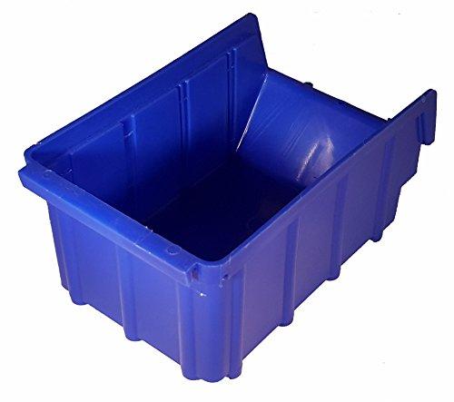 30 Stück Stapelboxen blau Gr.2 (102x167x76mm) Kunststoff PP Sichtlagerkästen Stapelkästen mit Aufhängevorrichtung