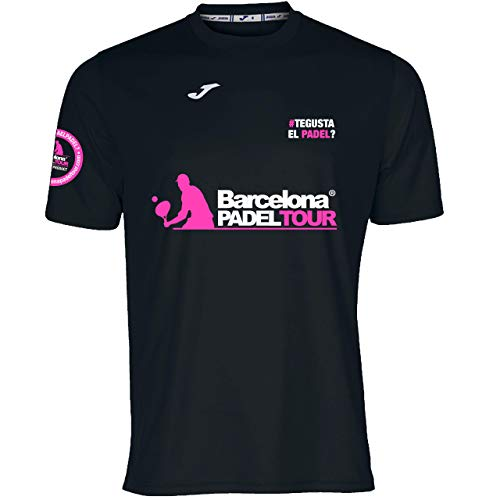 Barcelona Padel Tour | Camiseta Manga Corta Técnica Joma Gusta el Padel Hombre | Estampación Especial de Pádel | De Tacto Suave y Secado Rápido | Ropa Deportiva Negro L